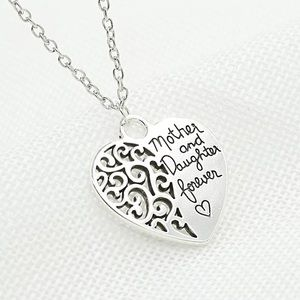 Mother and Daughter Love Forever Heart Necklace